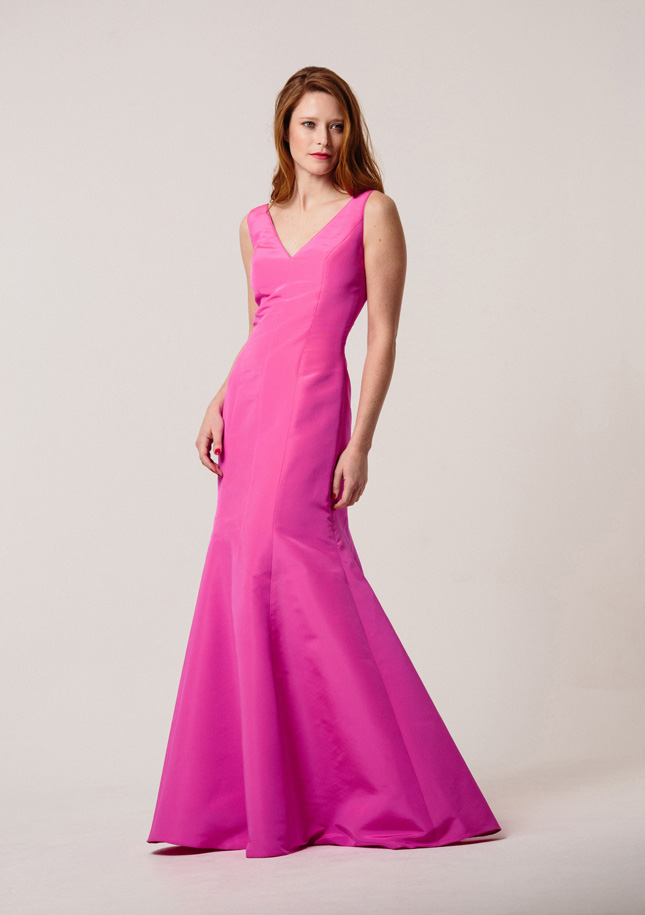 Hot Pink Silk Zibeline Evening Gown