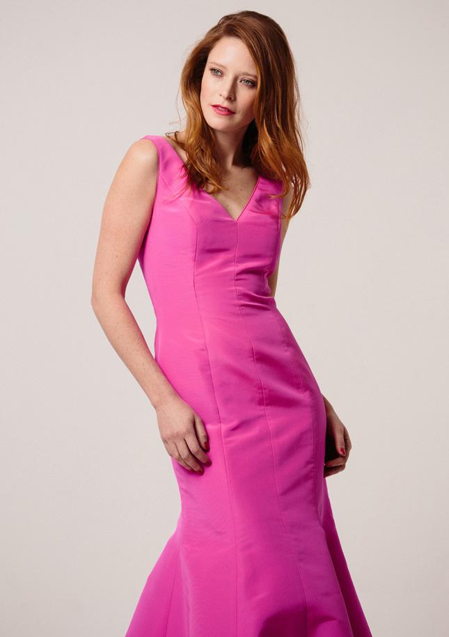 Hot Pink Silk zibeline Evening gown 1