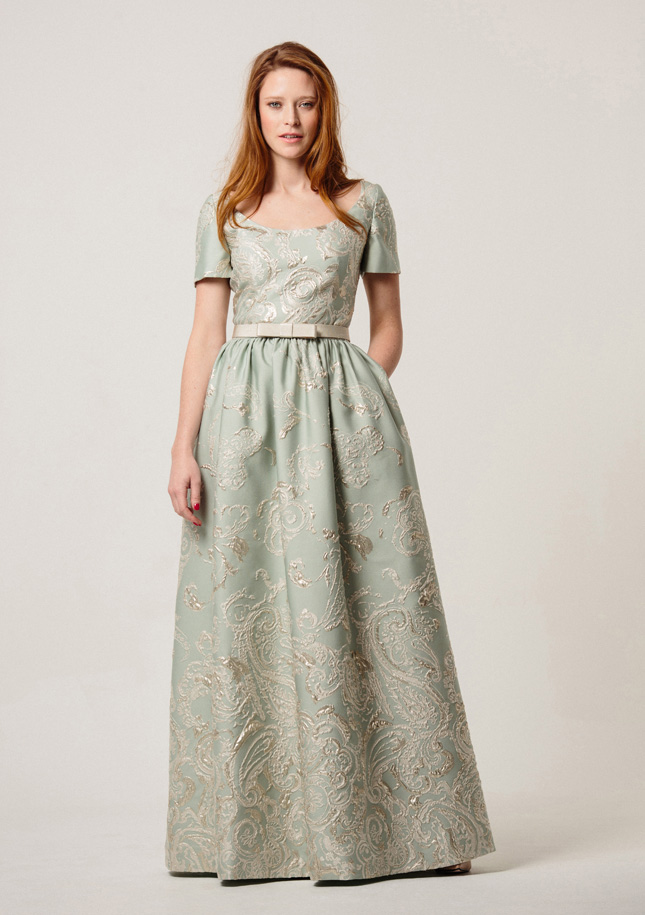 Pale mint Brocade Evening Dress 1