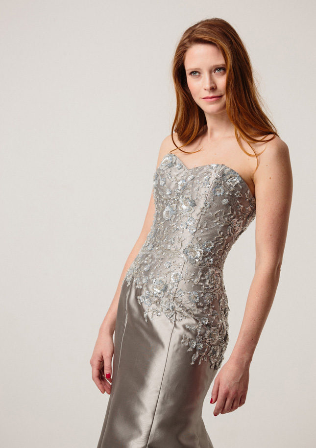 Silver Zibeline Evening Gown 1