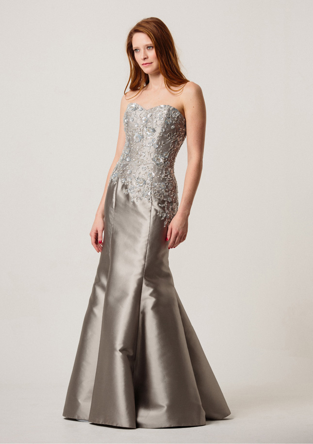 Silver Zibeline Evening Gown