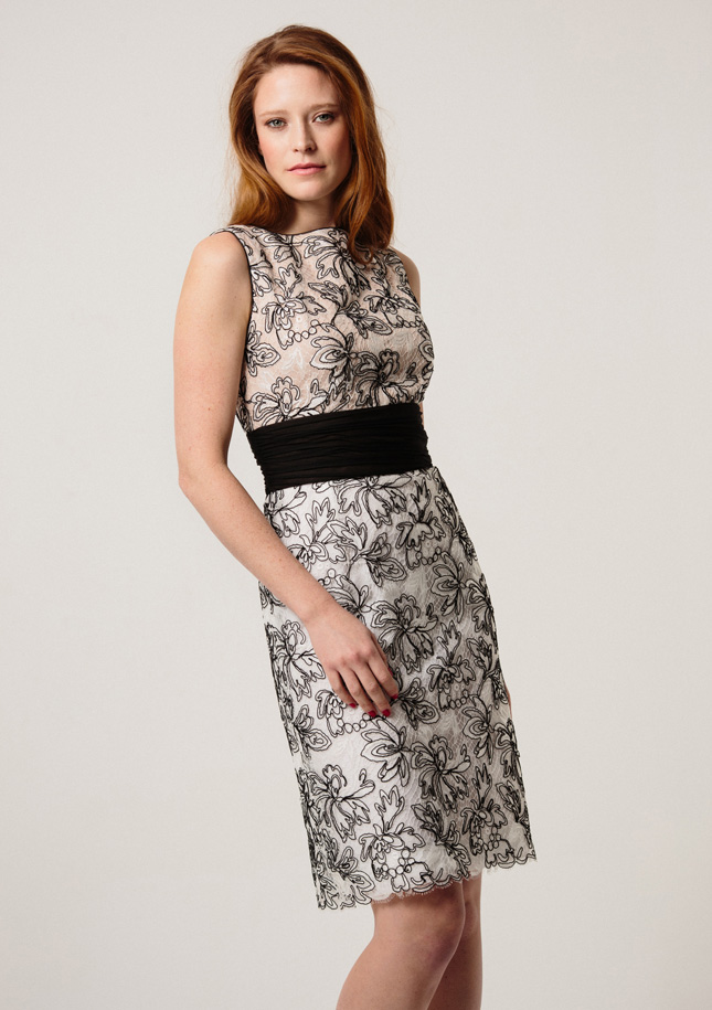 Taupe black and white cocktail dress