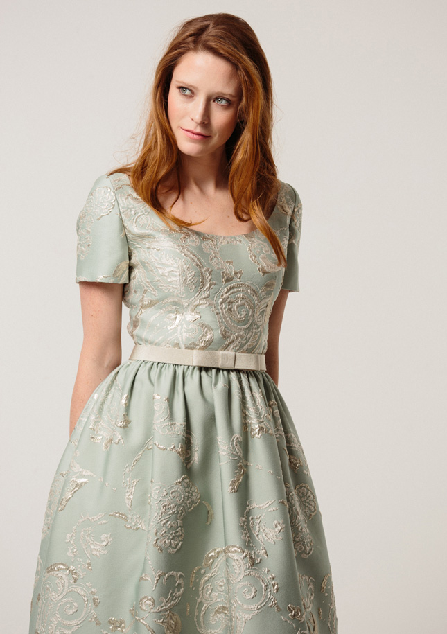 pale mint brocade Evening Gown