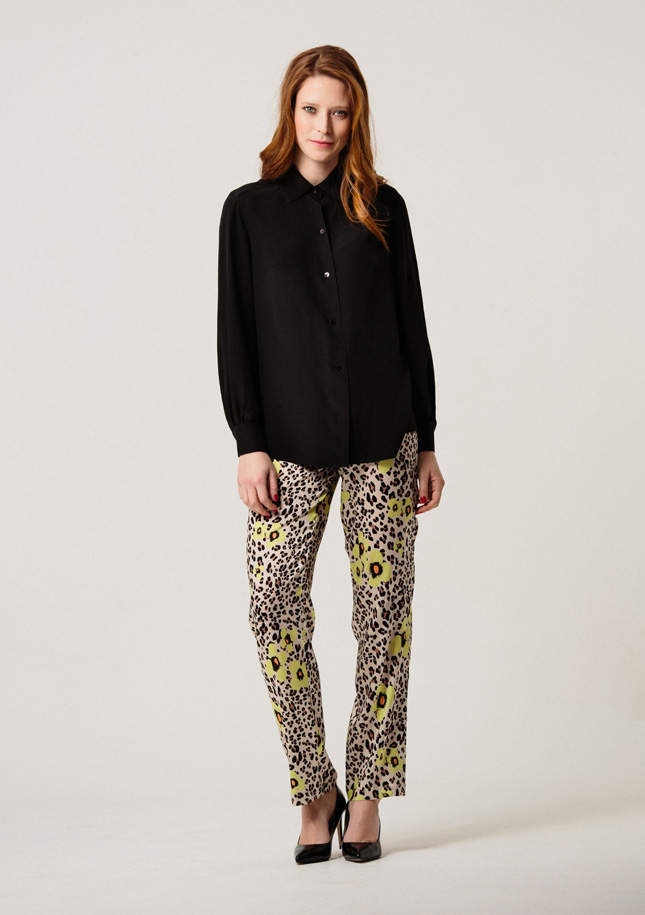 Black Shirt and Leopard Trousers