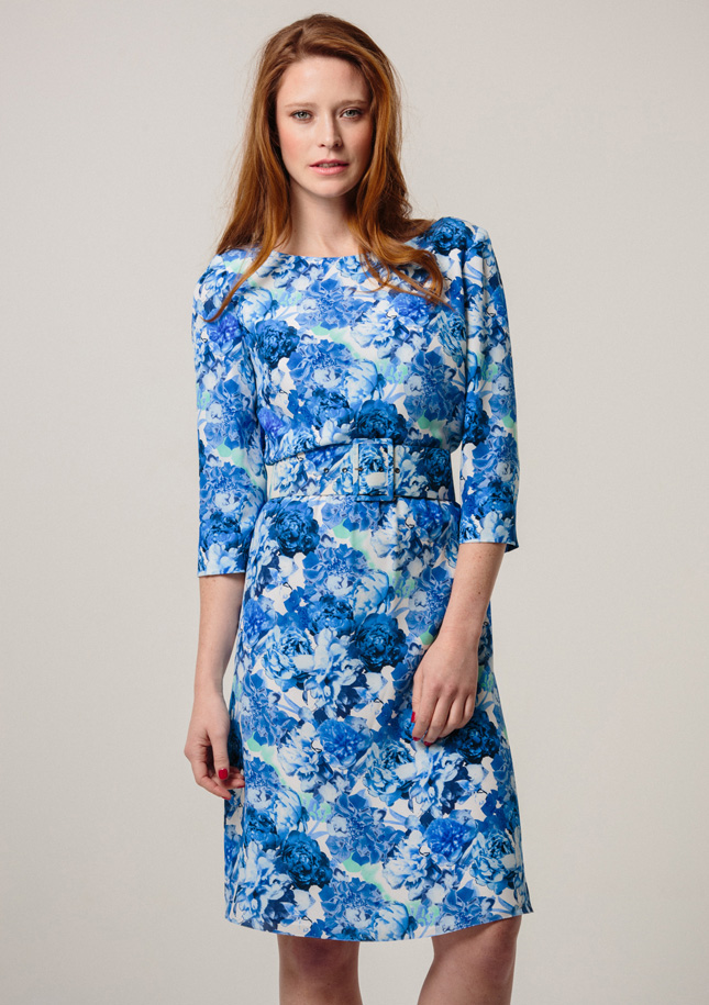 Blue and White Print Silk Dress