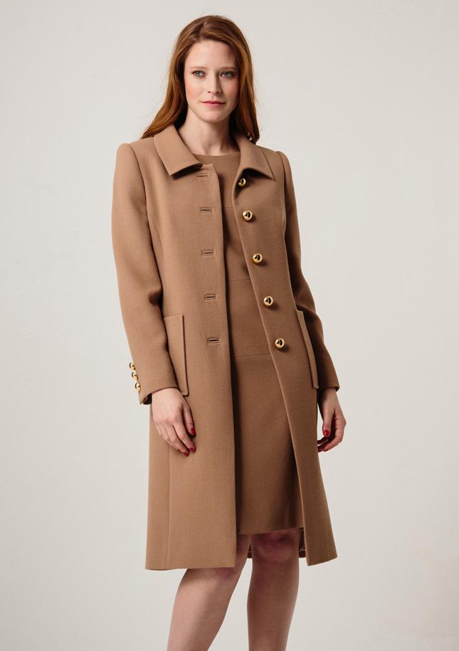 Camel Crepe Coat 1