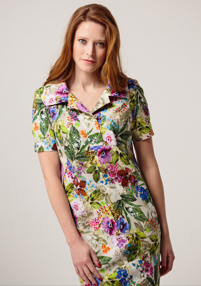 Cotton Print Shift With Collar