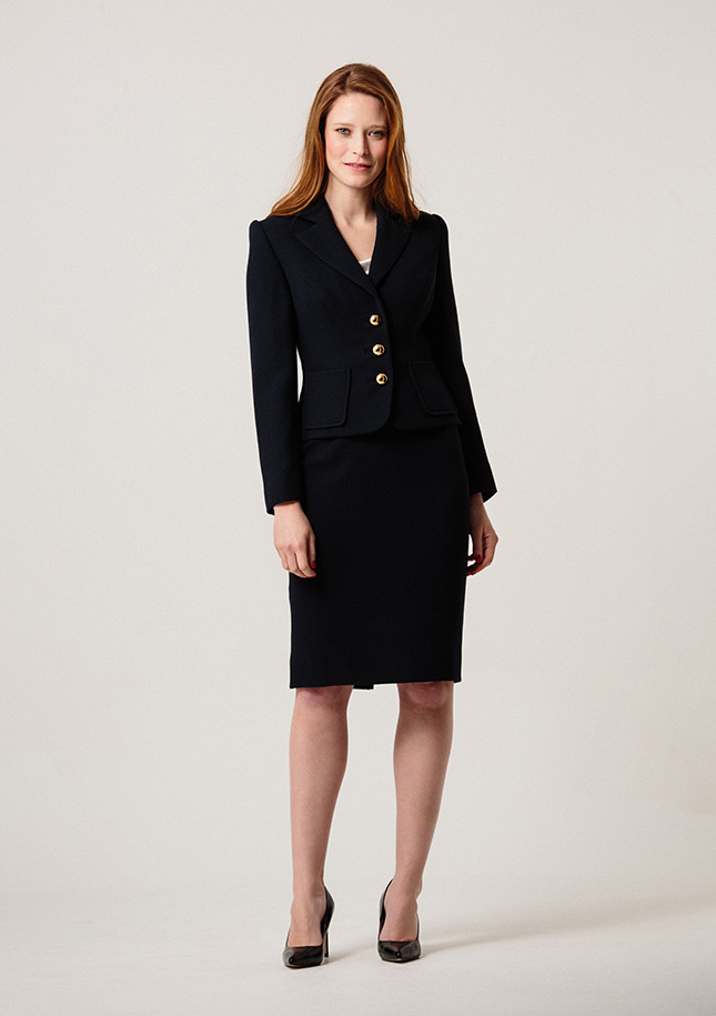 Navy Wool Crepe Suit