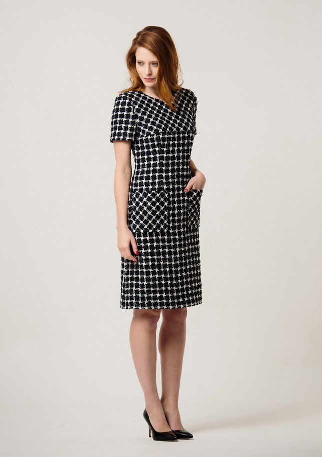 Navy and White Tweed Dress