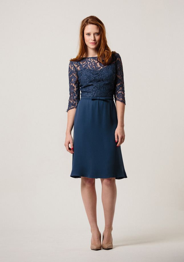Petrol Blue Crepe Dress