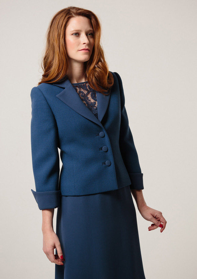 Petrol Blue Crepe Jacket 1