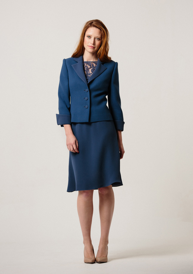 Petrol Blue Crepe Jacket