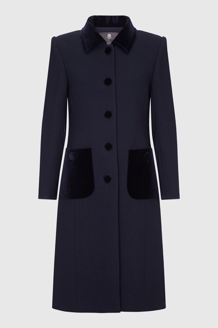 Navy wool crepe and velvet coat_F