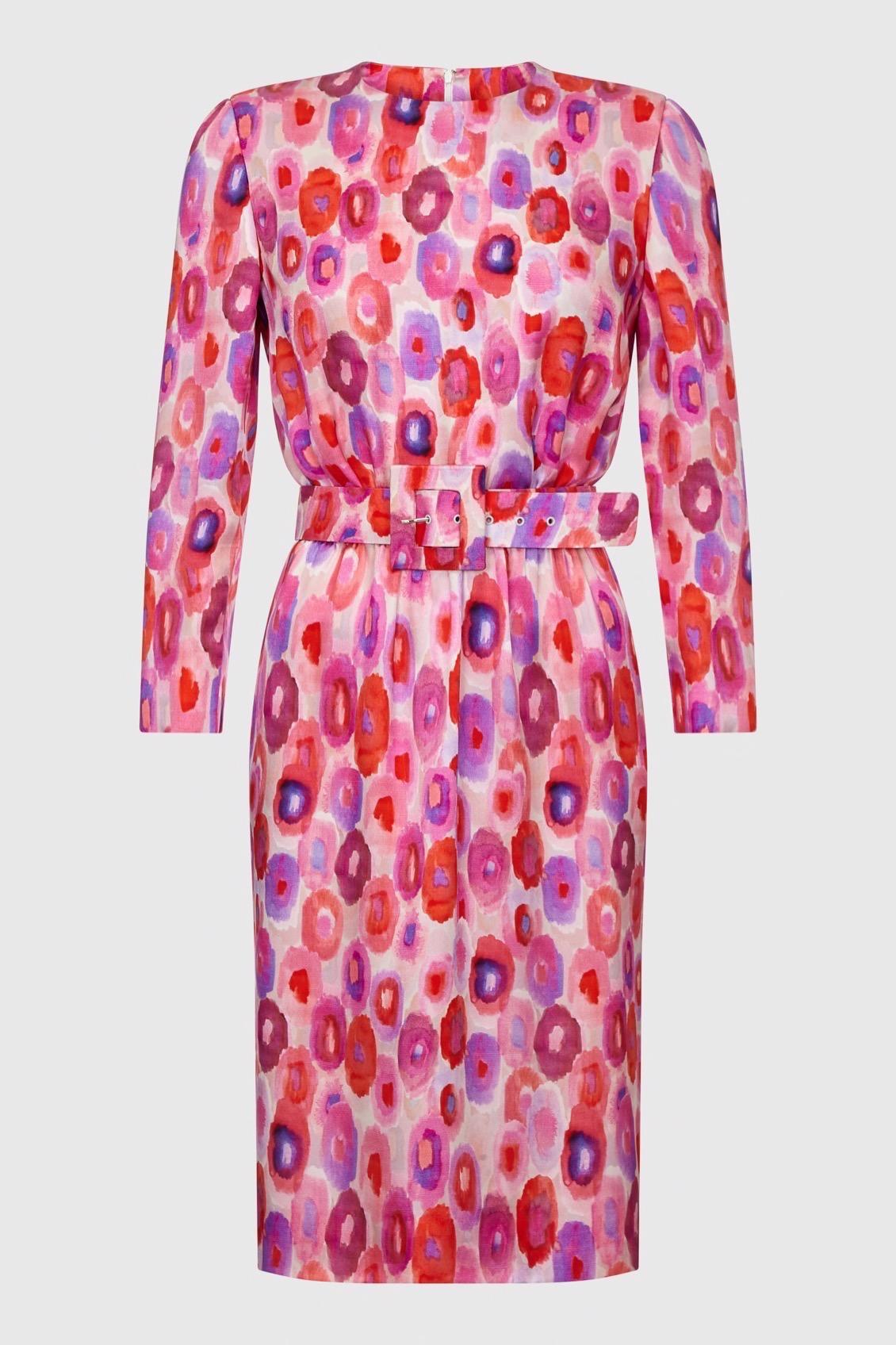 Pink Spot Silk Print Dress_F