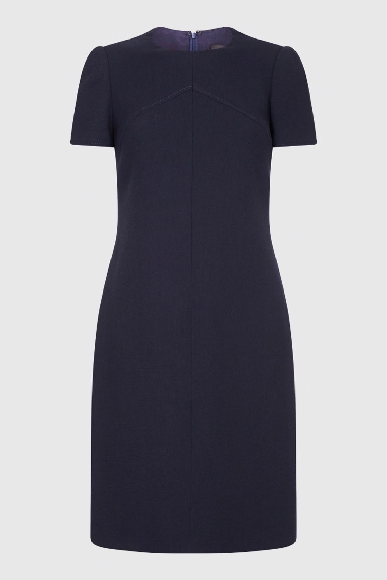 navy wool crepe s_s dress_F
