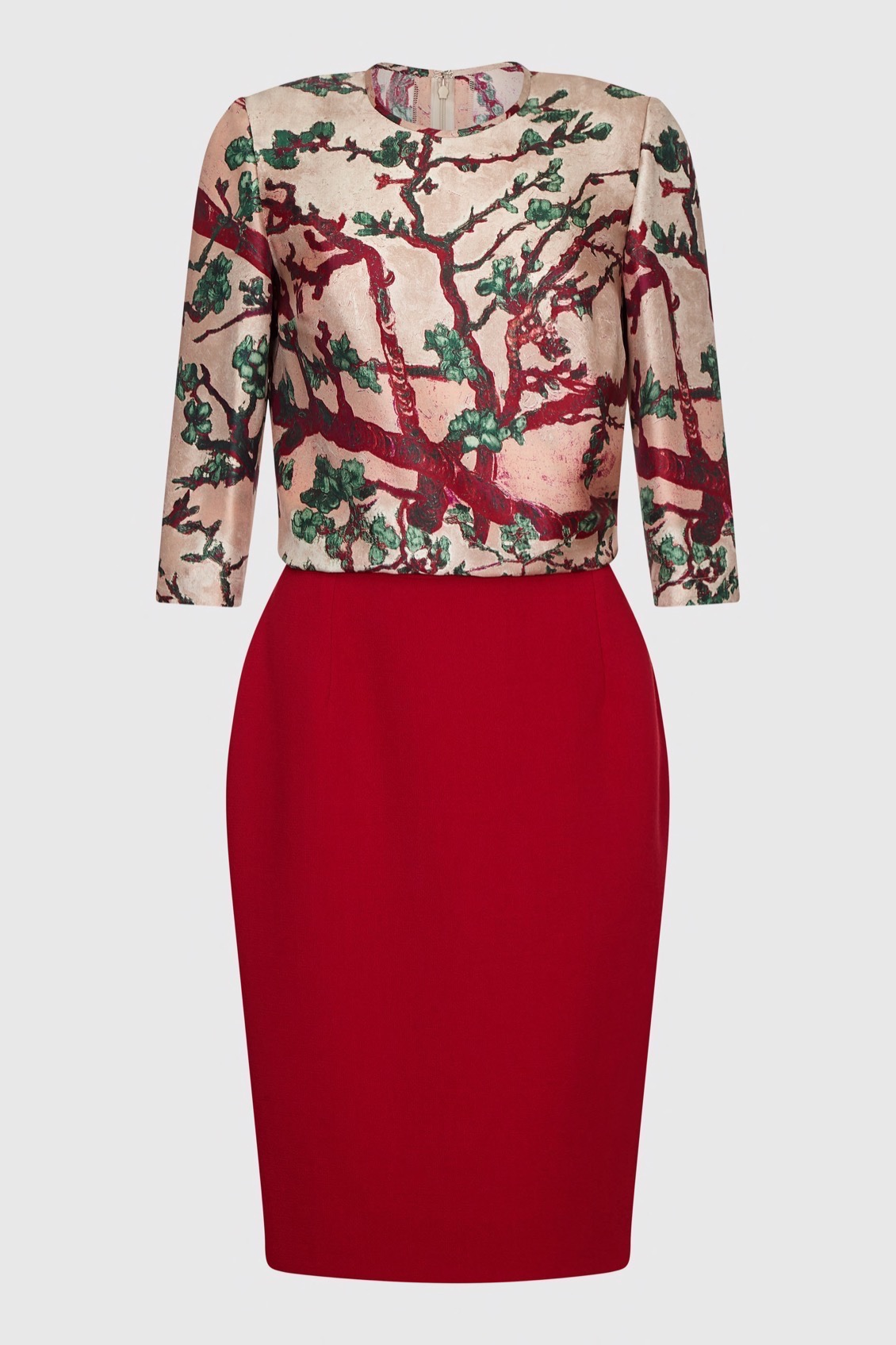 silk print blouse and pencil skirt_F